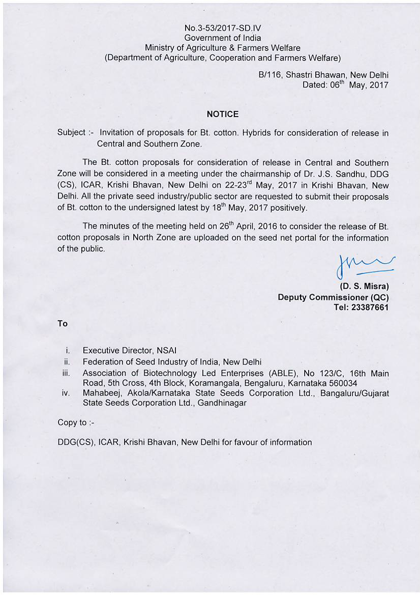 Seednet india portal meeting notice to consider commercial release of bt cotton hybrids varieties for south zone bt cotton guidelines for consideration of the proposal for 1betcityfo Gallery